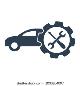 Car service icon on white background. Vector illustration