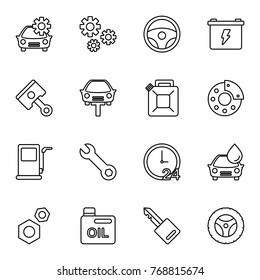 Car Service Icon Set. Various Car Service Related In White Background