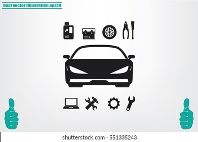 Car service icon vector EPS 10, abstract sign logo silhouette  flat design,  illustration modern isolated badge for website or app - stock info graphics.