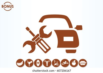 Car service icon vector EPS 10, abstract sign logo silhouette  flat design,  illustration modern isolated badge for website or app - stock info graphics