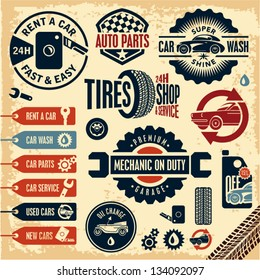 Car service icons. Auto parts. Rent a car. Car wash. Retro vintage car labels set.