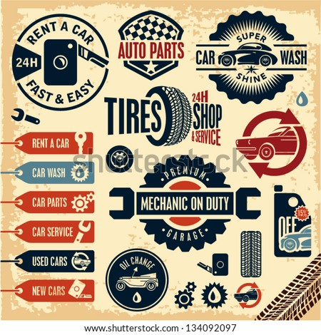 Car Service Icons Auto Parts Rent Stock Vector Royalty Free