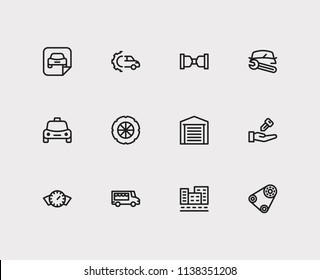 Car service icons set. Food truck and car service icons with car dashboard, car repair and seller. Set of wrench for web app logo UI design.