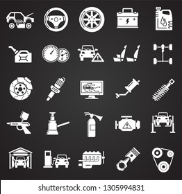 Car service icons set on black background for graphic and web design, Modern simple vector sign. Internet concept. Trendy symbol for website design web button or mobile app
