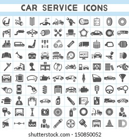 car service icons set, car parts set