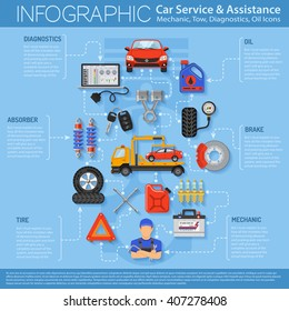 Car Service Infographics with Flat Icons for Poster, Web Site, Advertising like Laptop Diagnostics, Tow, Battery, Brake, Mechanic. vector illustration