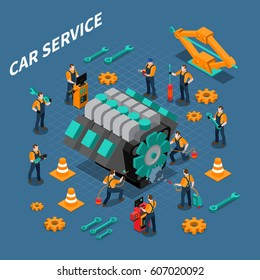 Car service isometric composition with people equipment and tools symbols vector illustration