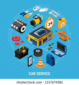Car service isometric concept with professional help symbols vector illustration