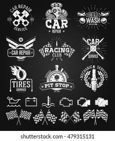 Car service Labels, Emblems and Logos chalk drawing