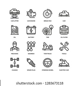 CAR SERVICE LINE ICON SET
