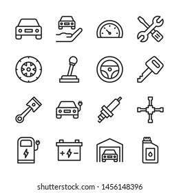 Car service line icons set vector illustration