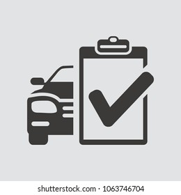 Car service list icon isolated of flat style. Vector illustration.