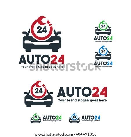 Car Service Logo Car Fix Wrench Stock Vector Royalty Free