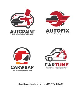 Car Service Logo set including Body Paint, Sticker Wrap, Engine Performance Upgrade and repair.