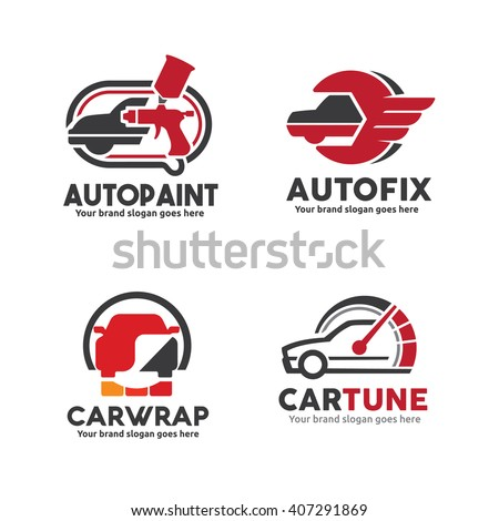 Car Service Logo Set Including Body Stock Vector Royalty Free
