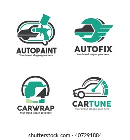 Car Service logo Template Set, Car Paint Logo, Car service Logo, Car Sticker Wrap Logo,Car performance upgrade Logo