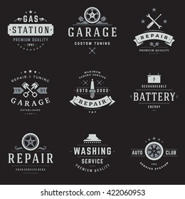 Car Service Logos Templates Set. Vector object and Icons for Garage Labels, Car Badges, Emblems Graphics.