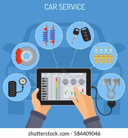 Car Service and Maintenance Concept with flat Icons. Mechanic holding tablet PC in hand, and makes diagnostics. isolated vector illustration.