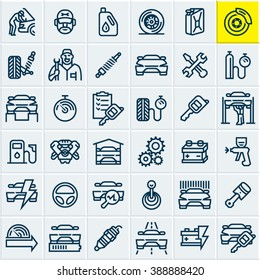 Car service maintenance icons set, car vector line icons, mechanic, garage, auto parts, car repair