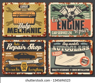 Car service, maintenance and spare parts. Vector toolkit and engine, wrench and auto glass. Vehicle garage station service, mechanic on duty, rusty signboards