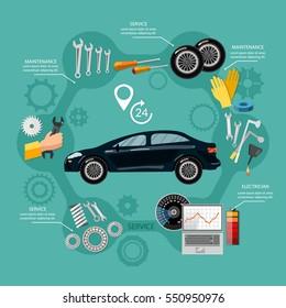 Car service mechanic tool box tuning diagnostics, tire service, car repair vector