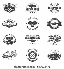 Car Service monochrome badges set. Retro vintage automotive service and restoration templates. Logo design. Isolated. Vector