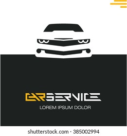 car service poster design template, sports car front icon