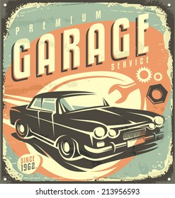 Car service - Promotional retro design concept. Vintage poster layout for auto garage.