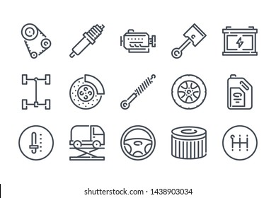 Car service related line icon set. Car repair and inspection linear icons. car parts outline vector signs and symbols collection.