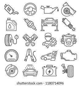 Car service and repair Icons Set Vector