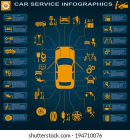 Car service, repair Infographics. Vector illustration