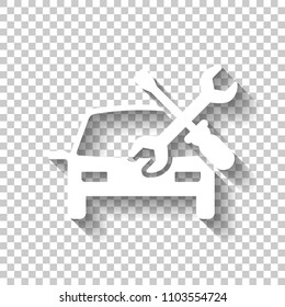 Car service, repair instrument, fix. White icon with shadow on transparent background
