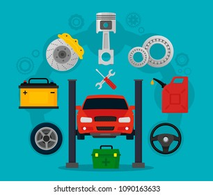 Car service and repair. Process of repairing the car, tire service, diagnostics.  Elements auto parts. Vector illustration in flat style. EPS10.