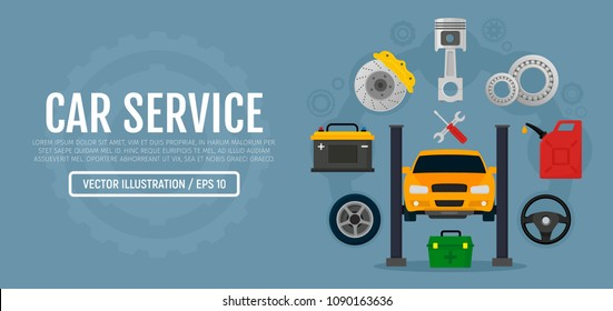 Car service and repair. Process of repairing the car, tire service, diagnostics.  Elements auto parts. Vector horizontal banner in flat style. EPS10.