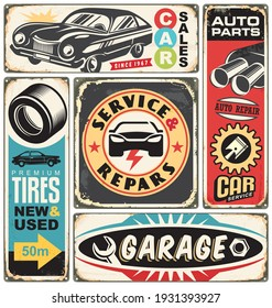 Car service and repair retro signs collection. Vintage transportation signage with car graphics , auto parts and creative lettering. Vector cars labels and stickers set.