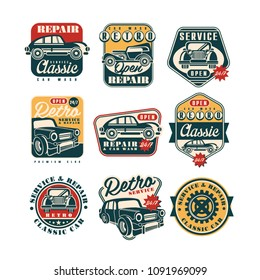 Car service and repair vintage style labels set, auto wash retro classic logo, badge vector Illustrations on a white background