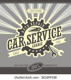 Car service retro banner design concept. Vintage garage and auto parts poster. Car side view symbol layout. Commercial ad template for transportation business.