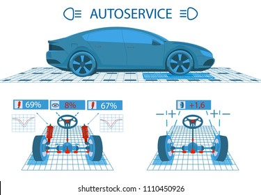 Car service. Scanning. Graphical interface. Diagnostic alignment of the wheels. Check of shock-absorbers, the steering mechanism. Side view and perspective. Vector illustration