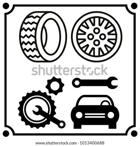 Car Service Set Icon Vector Stock Vector Royalty Free 1013400688