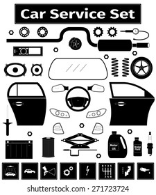 Car service set, vector illustration
