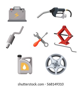 Car service set. Working tools isolated. Adjustable jack, battery, canister of gasoline, exhaust pipes, wrench screwdriver, petrol handle vector illustration