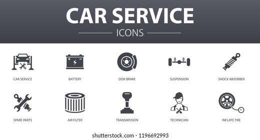 Car service simple concept icons set. Contains such icons as disk brake, suspension, spare parts, Transmission and more, can be used for web, logo, UI/UX