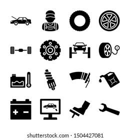 car service solid icons vetor design