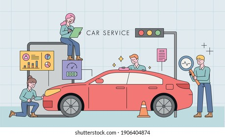 Car service station. Professional engineers are analyzing the car.