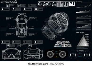 Car service in the style of HUD, Cars infographic ui, analysis and diagnostics in the hud style, futuristic user interface, repairs cars, Car auto service, mechanisms cars, car service HUD. dashboard
