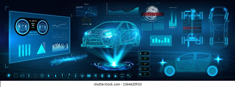 Car service in the style of HUD. Virtual graphical interface Ui HUD Autoscanning, analysis and diagnostics, Abstract vector science. Car auto service infographics. repair Futuristic user interface