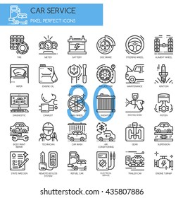 Car service  , Thin Line and Pixel Perfect Icons