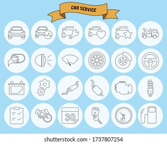 Car Service. Thin line simple outline icons. Editable stroke.