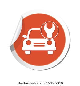 Car service. Car with tool icon.