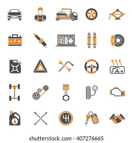 Car Service Two Color Icons Set for Poster, Web Site, Advertising like Laptop Diagnostics, Battery, Jack, Mechanic. isolated vector illustration